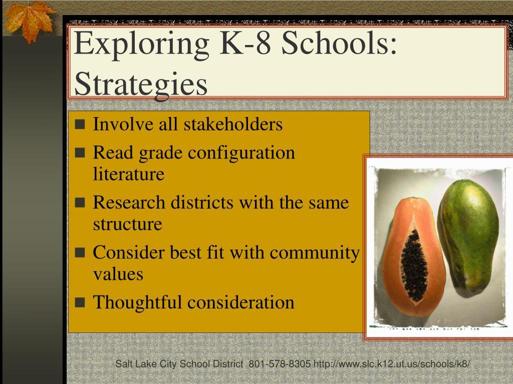 Exploring K-8 Schools: Strategies