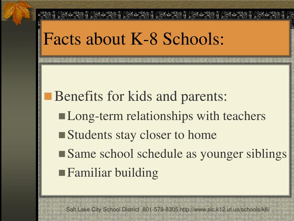 Facts about K-8 Schools: