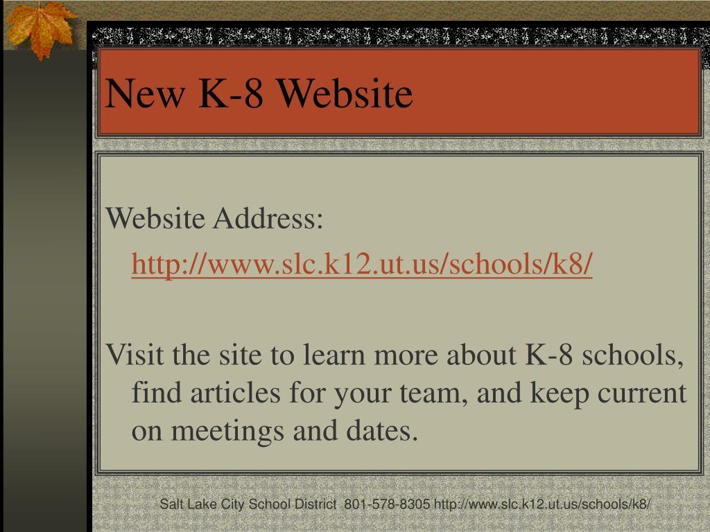 New K-8 Website
