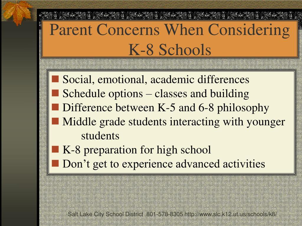 Parent Concerns When Considering K-8 Schools