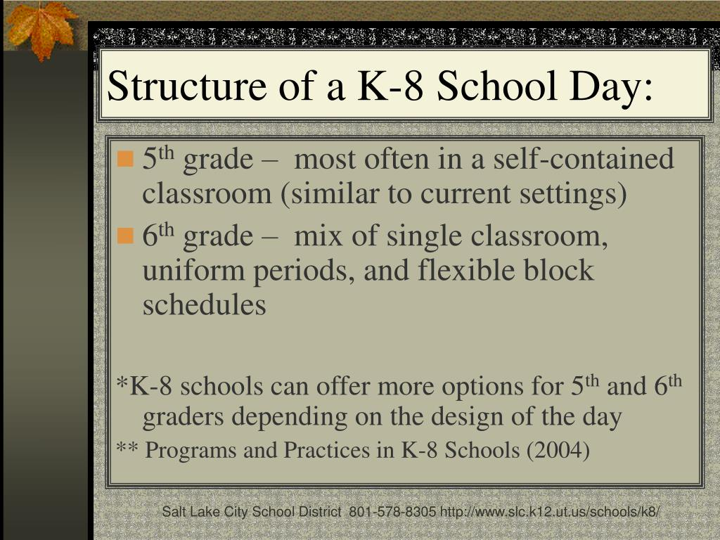 Structure of a K-8 School Day: