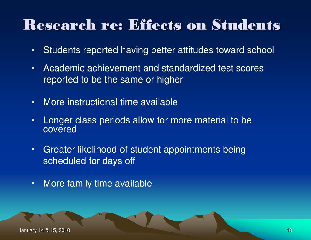 Research re: Effects on Students