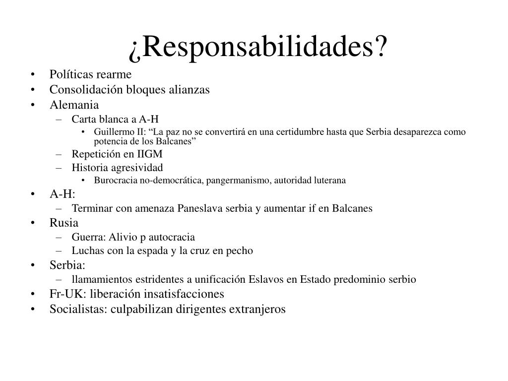 ¿Responsabilidades?