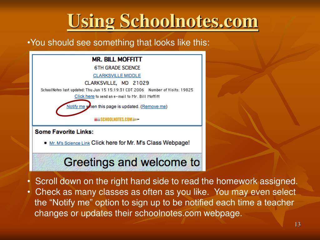 Using Schoolnotes.com