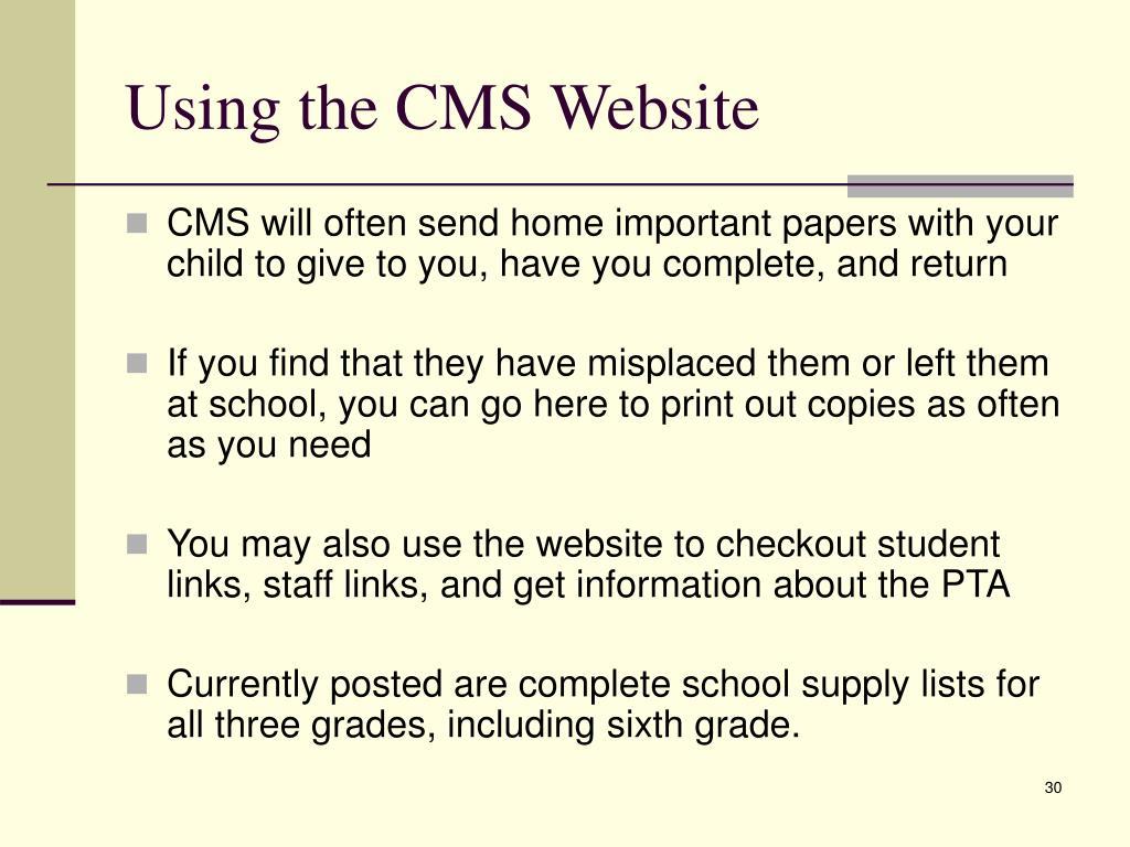Using the CMS Website