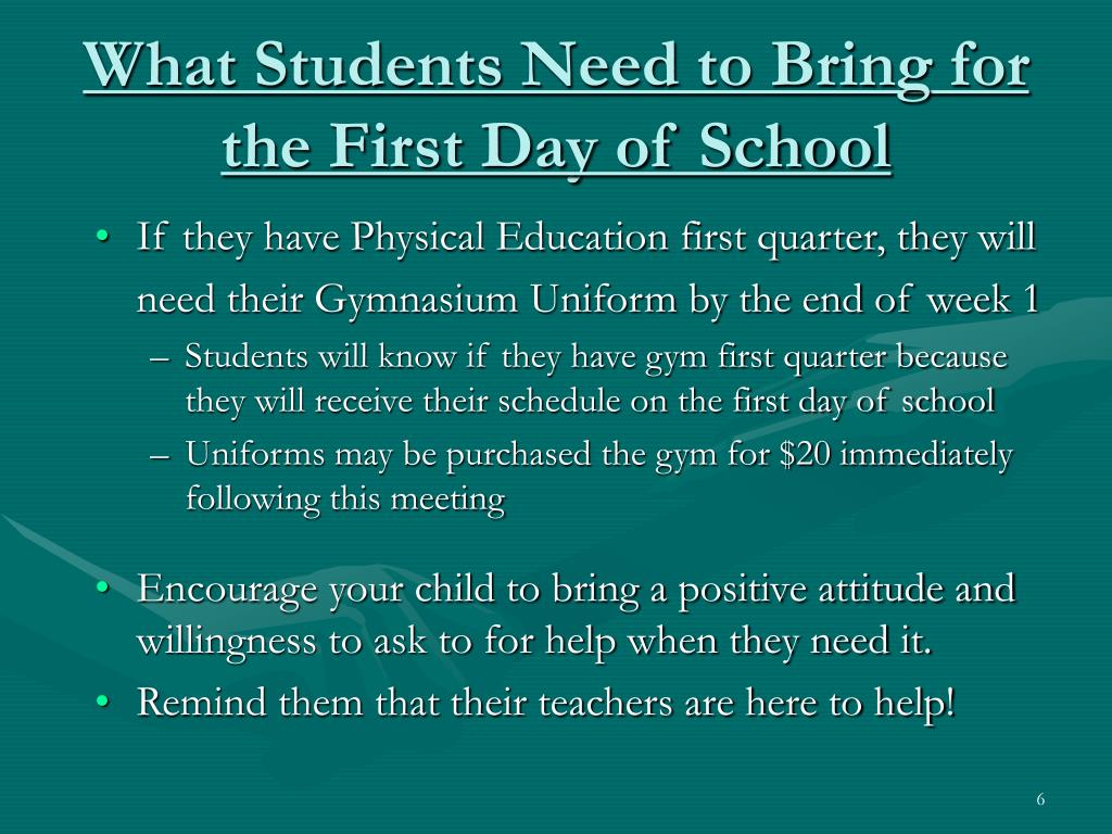 What Students Need to Bring for the First Day of School