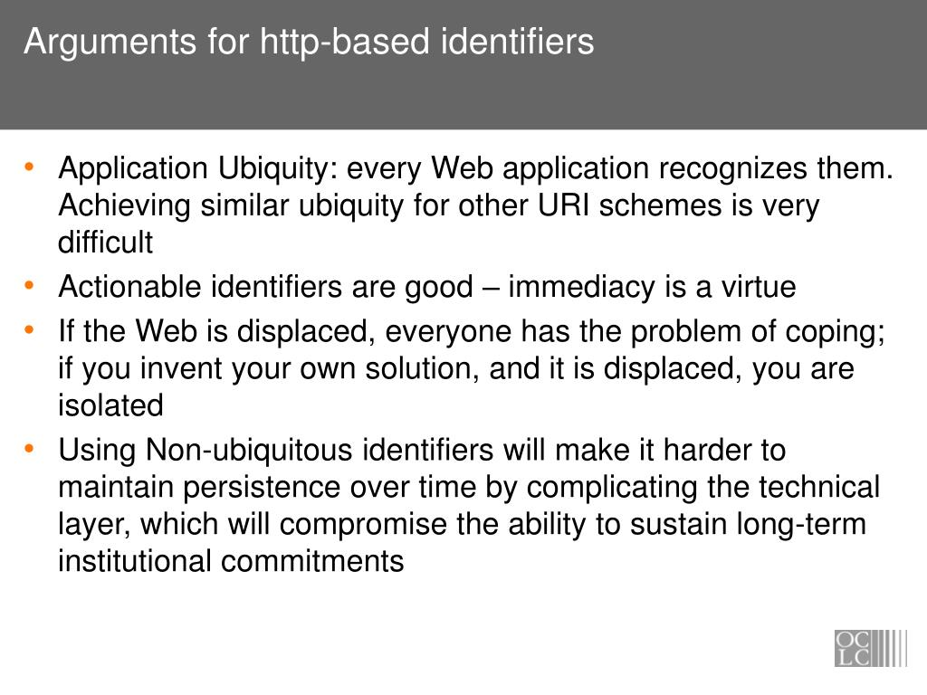 Arguments for http-based identifiers