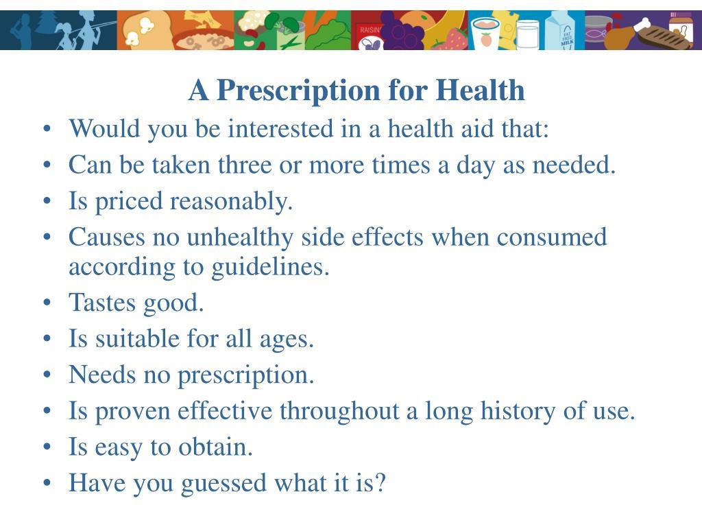 A Prescription for Health