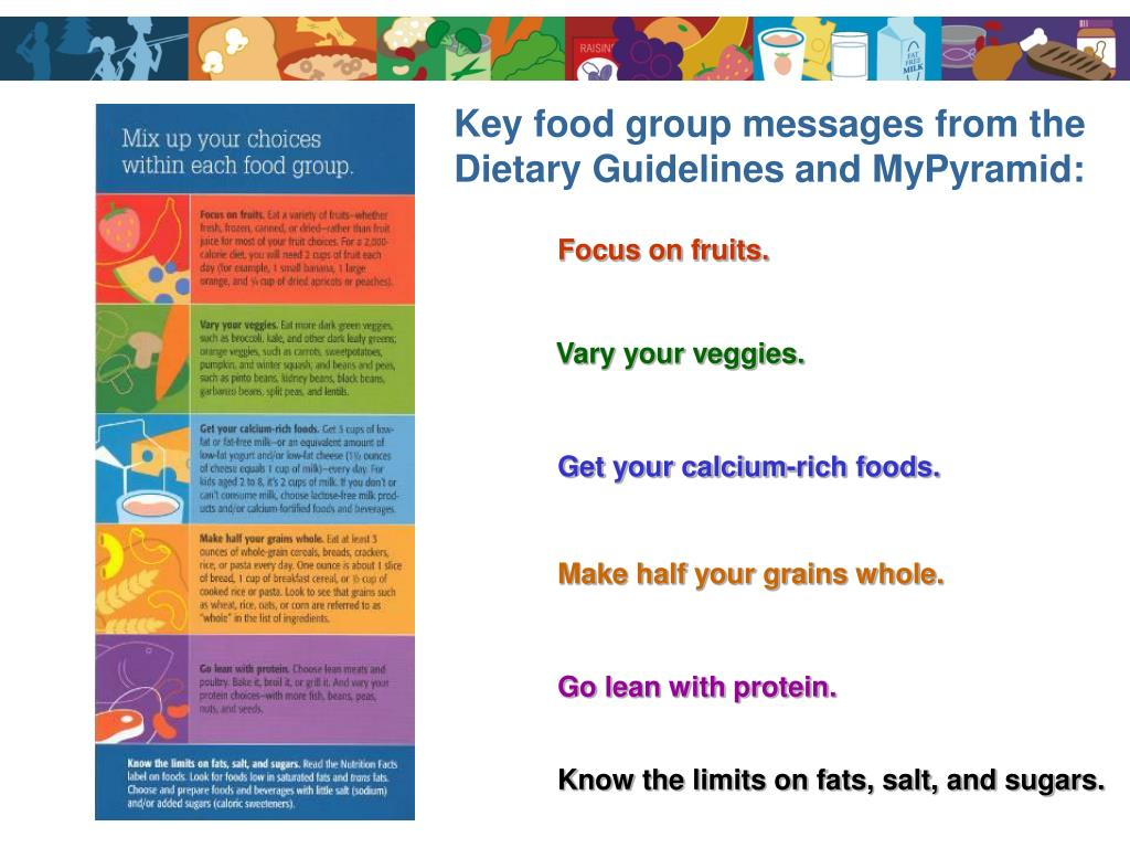 Key food group messages from the Dietary Guidelines and MyPyramid: