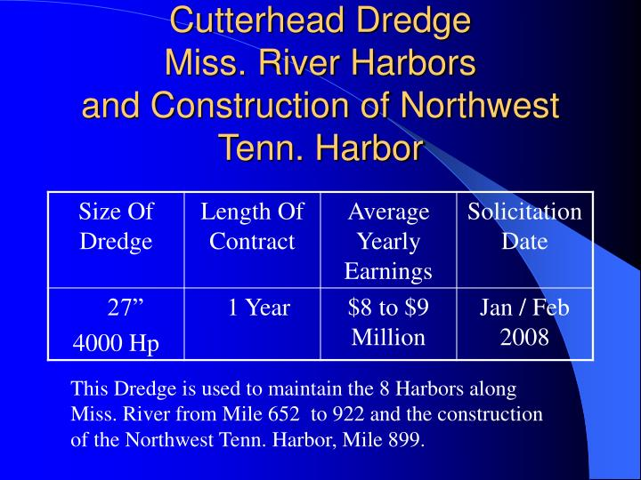 Cutterhead dredge miss river harbors and construction of northwest tenn harbor