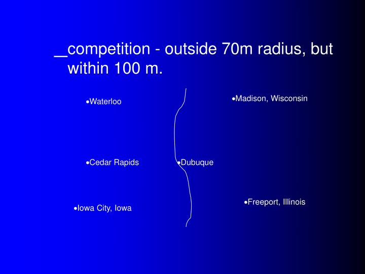 competition - outside 70m radius, but within 100 m.