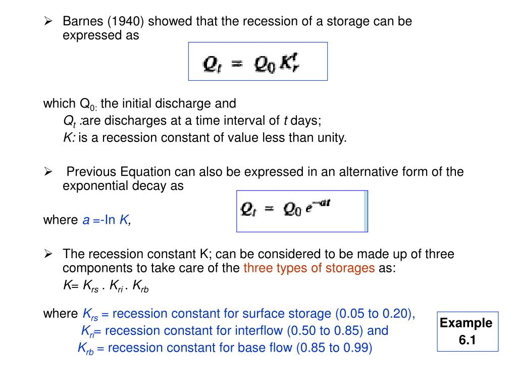 Barnes (1940) showed that the recession of a storage can be expressed as