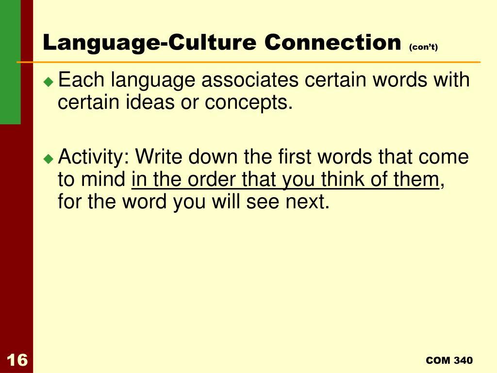 Language-Culture Connection