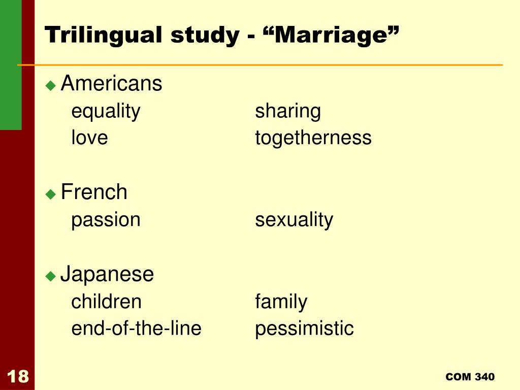 "Trilingual study - ""Marriage"""