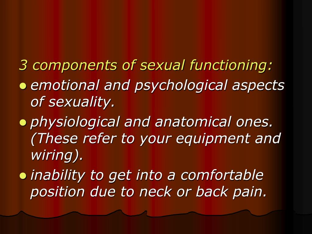 3 components of sexual functioning: