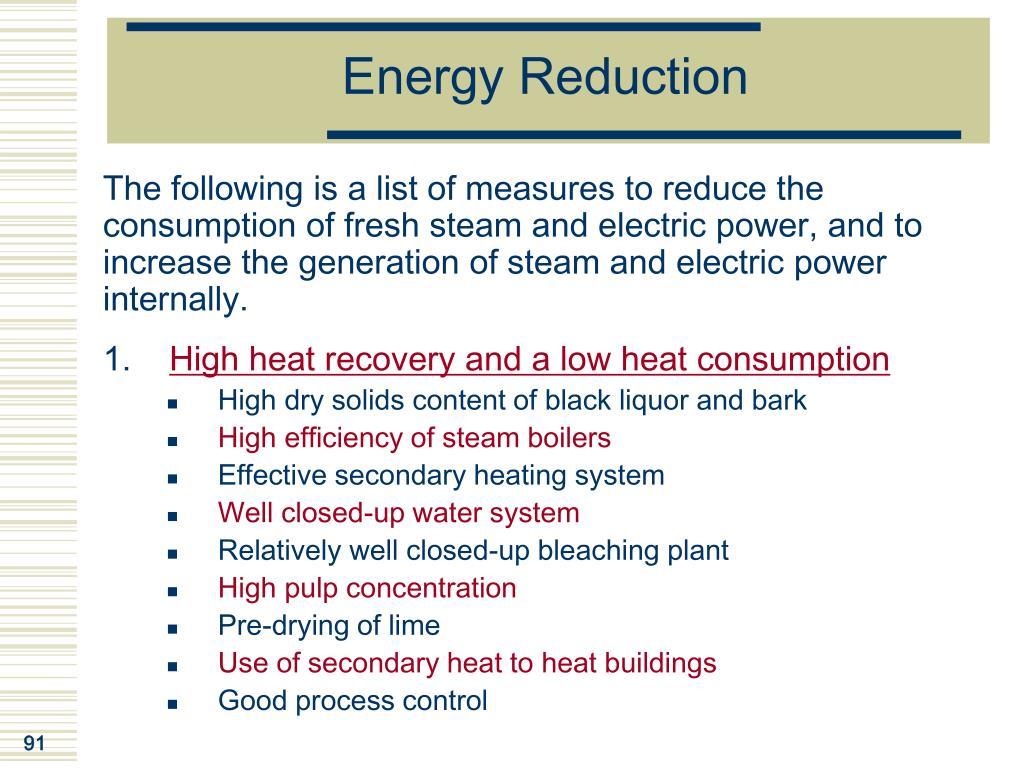 Energy Reduction