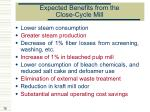 expected benefits from the close cycle mill