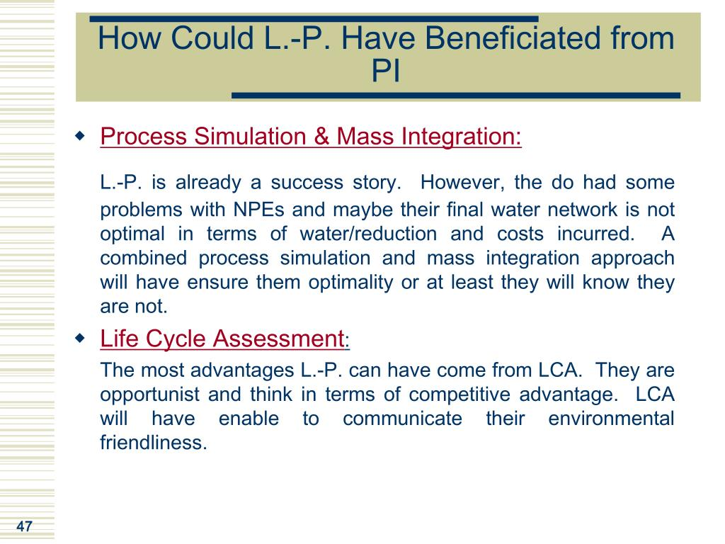 How Could L.-P. Have Beneficiated from PI