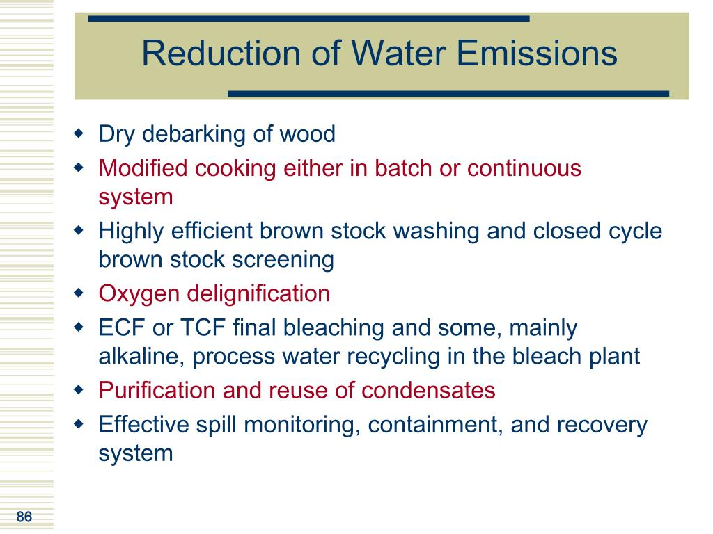 Reduction of Water Emissions