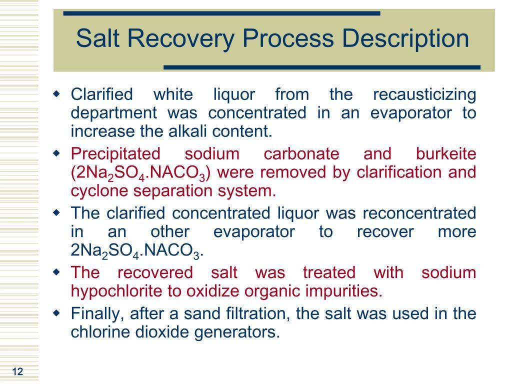 Salt Recovery Process Description