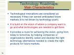 technology roadmaps main characteristics