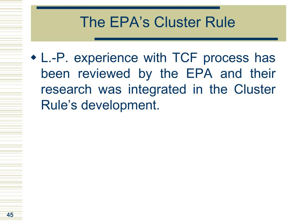 The EPA's Cluster Rule