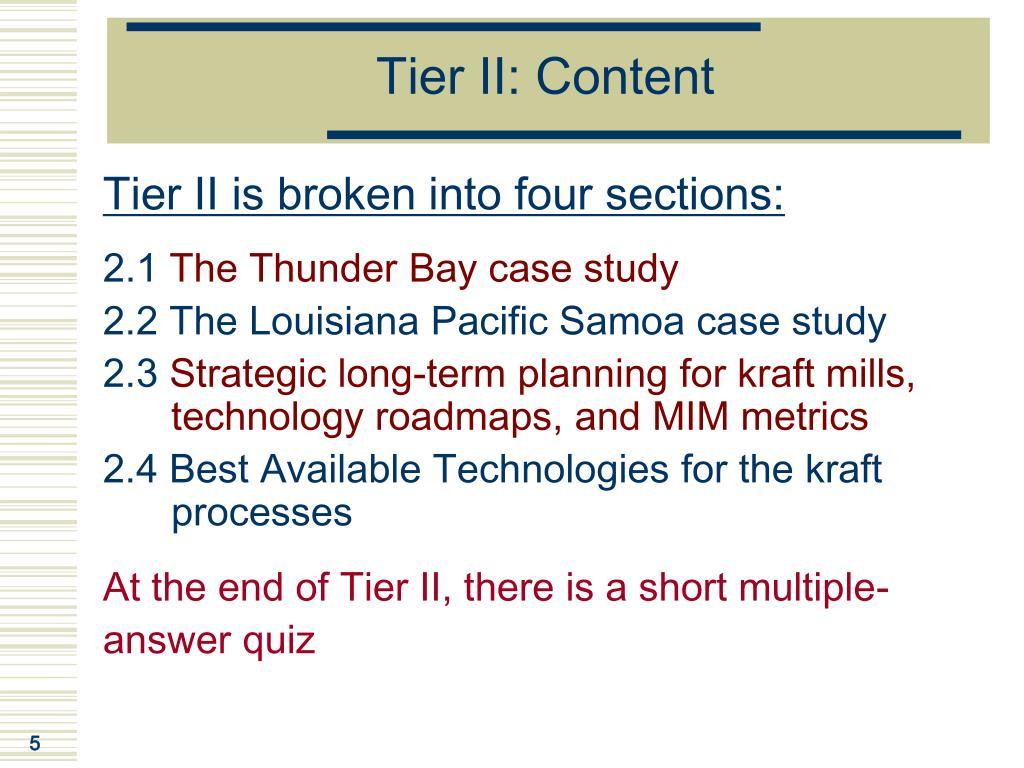 Tier II: Content