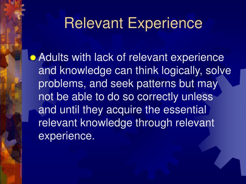 Relevant Experience