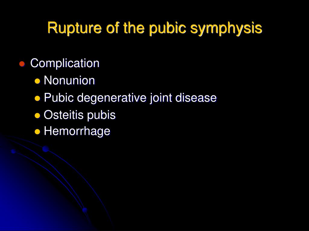 Rupture of the pubic symphysis