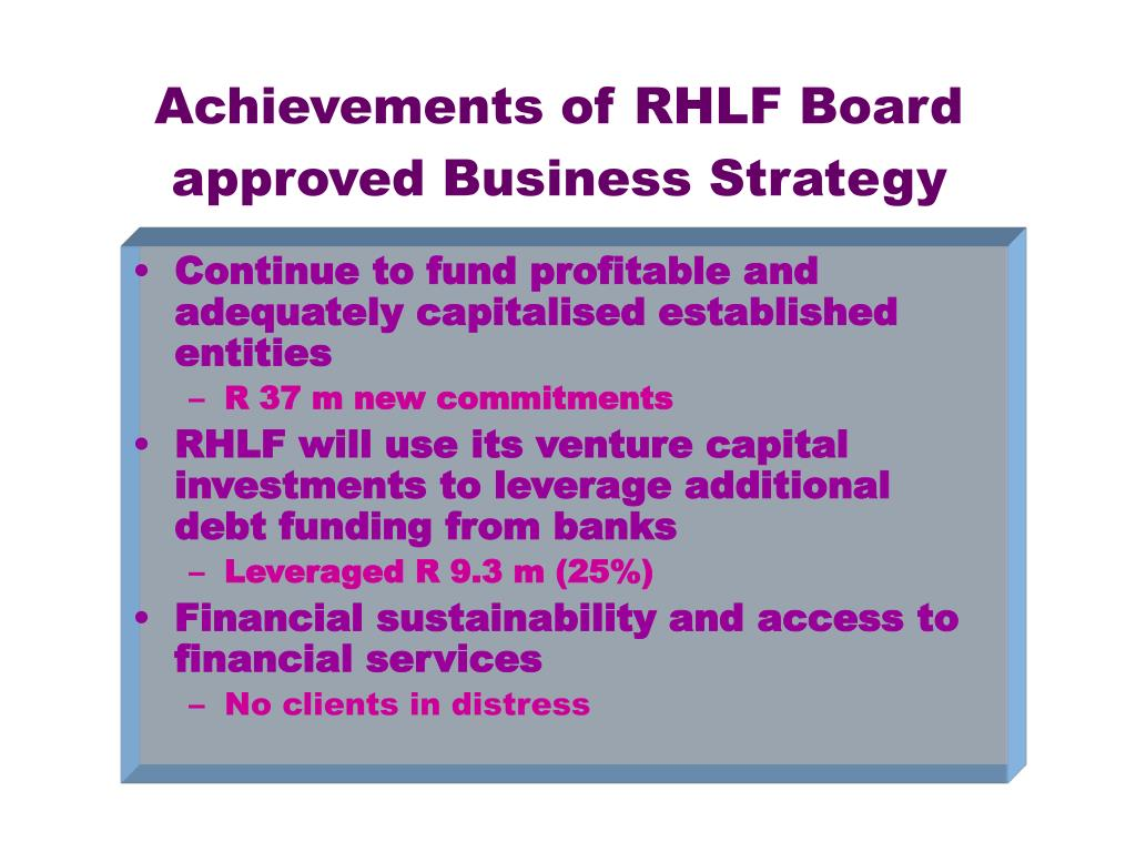 Achievements of RHLF Board approved Business Strategy