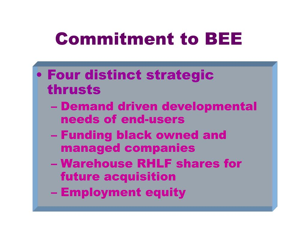 Commitment to BEE
