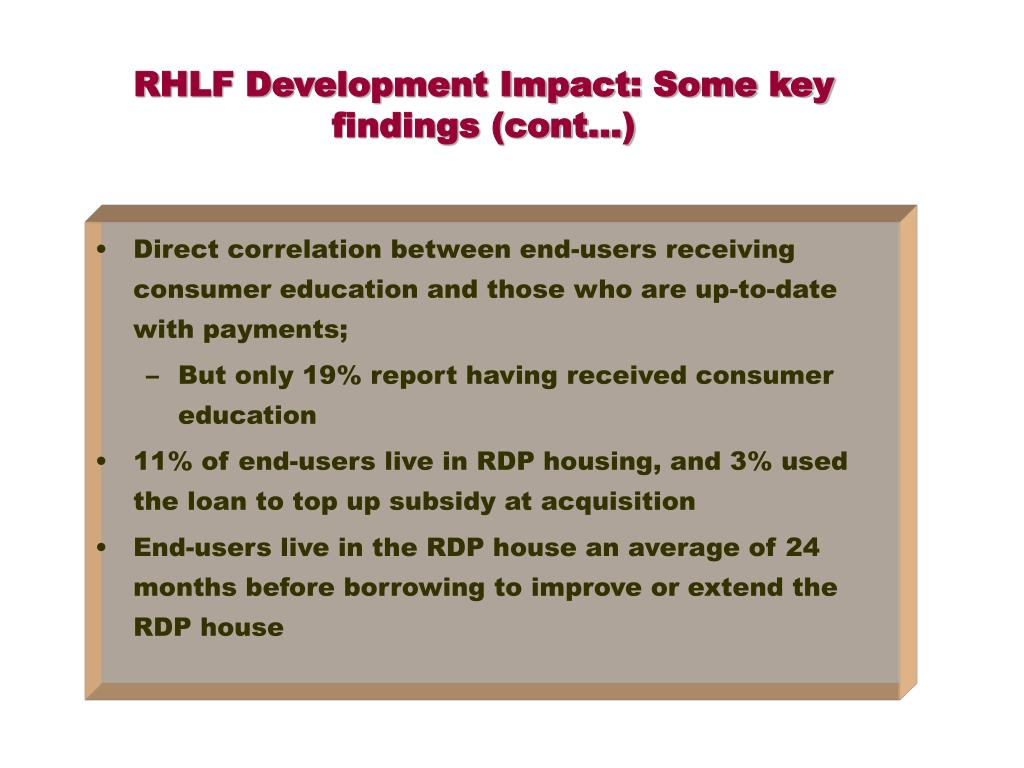RHLF Development Impact: Some key findings (cont…)