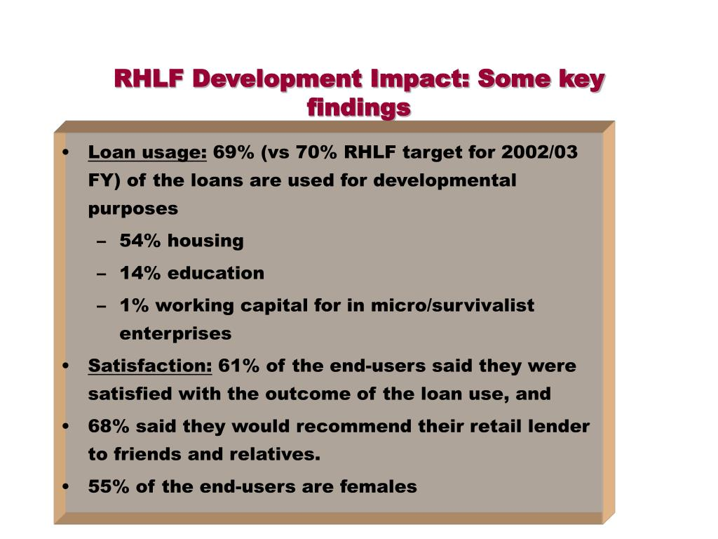 RHLF Development Impact: Some key findings