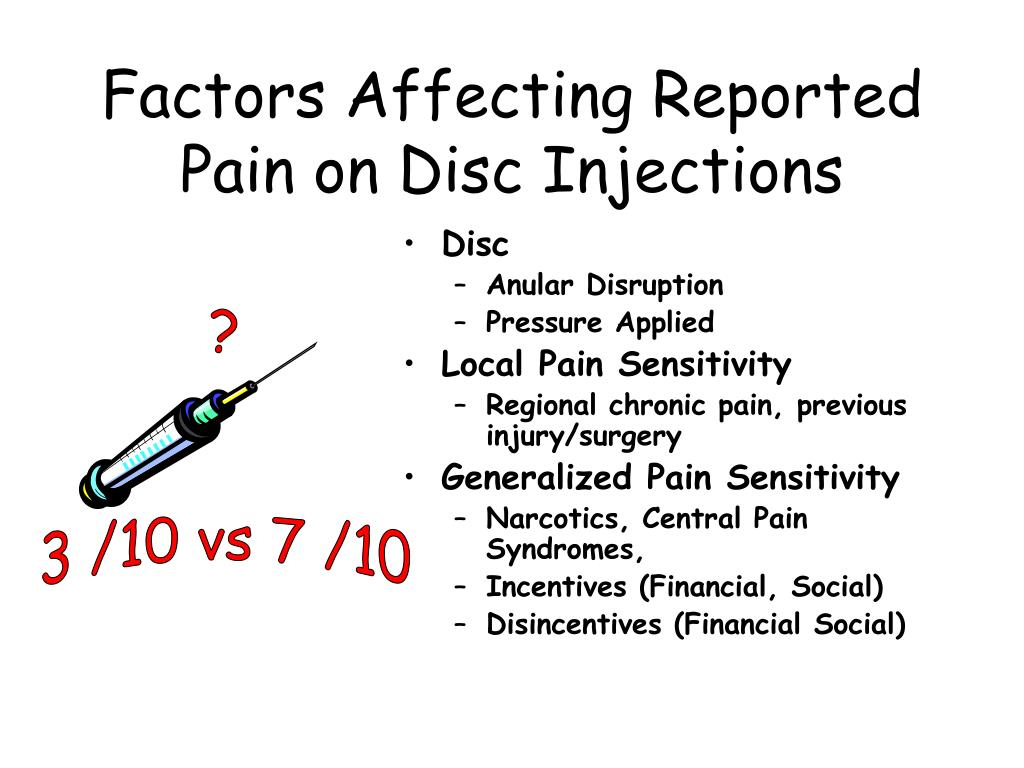 Factors Affecting Reported Pain on Disc Injections