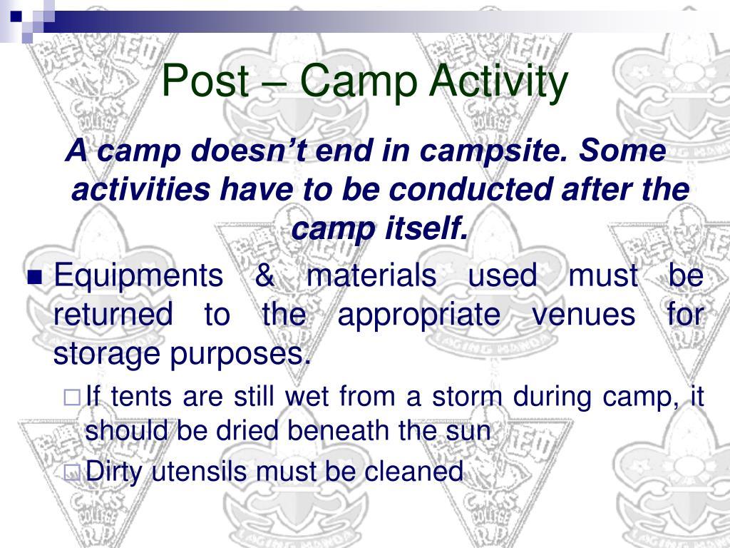 Post – Camp Activity