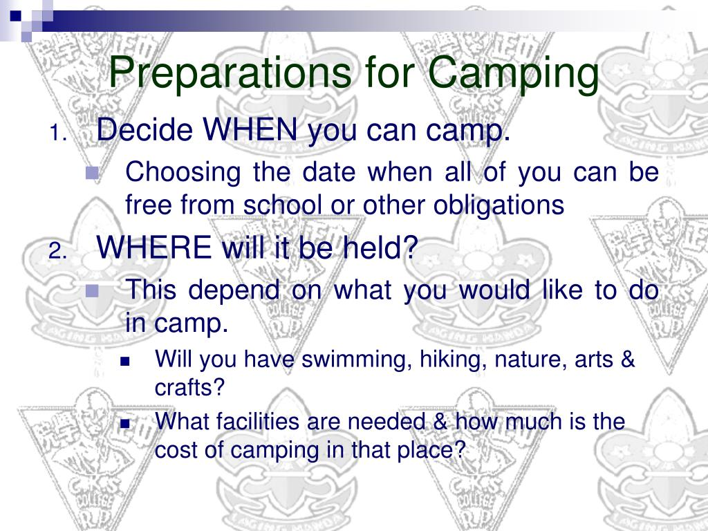 Preparations for Camping