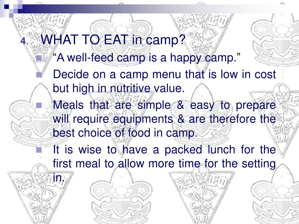 WHAT TO EAT in camp?