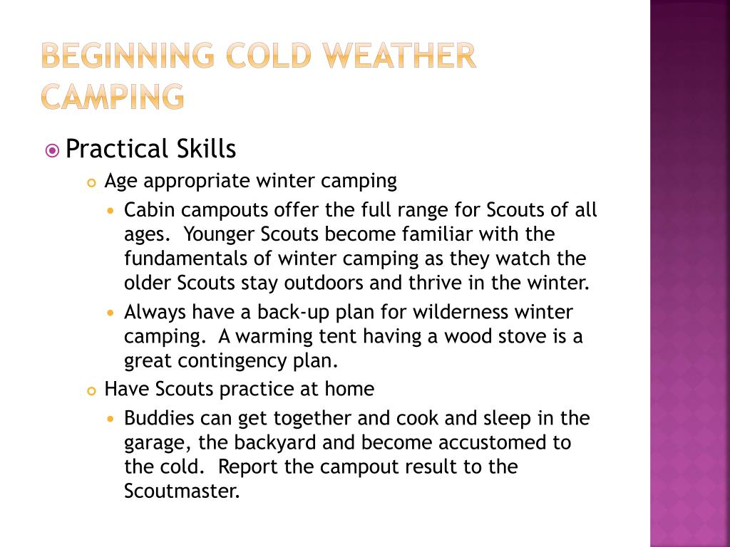 Beginning cold weather camping