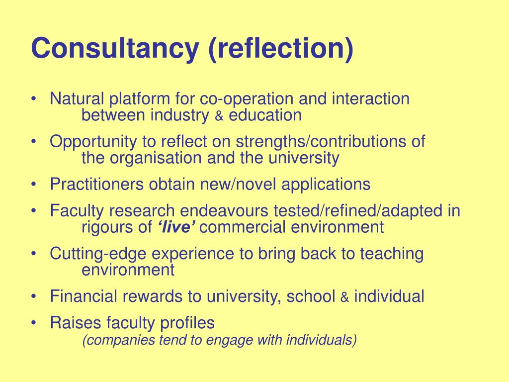 Consultancy (reflection)