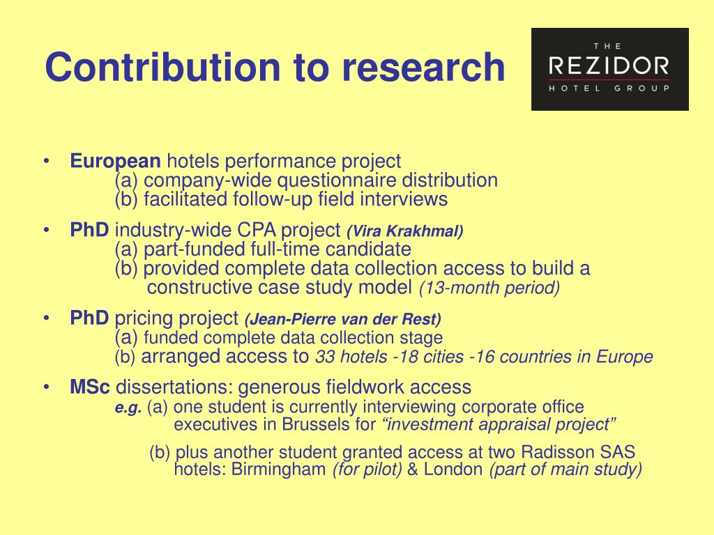 Contribution to research