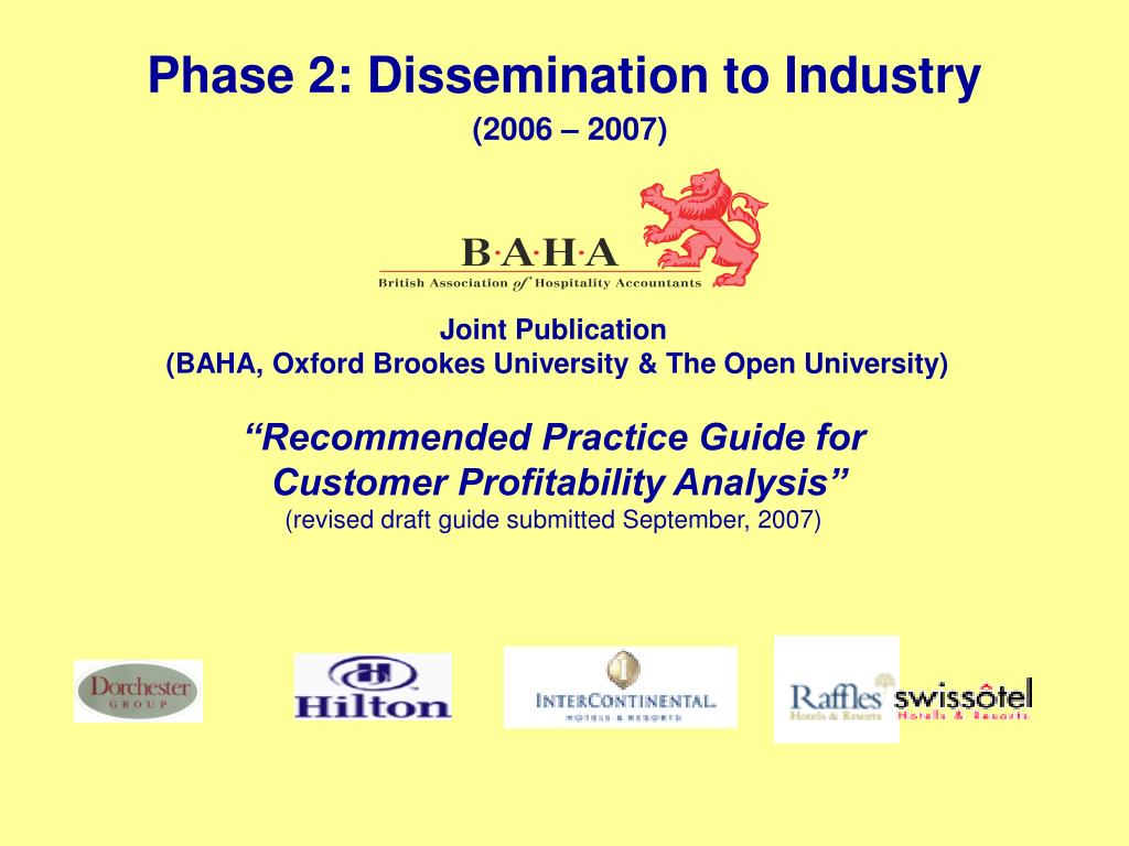 Phase 2: Dissemination to Industry