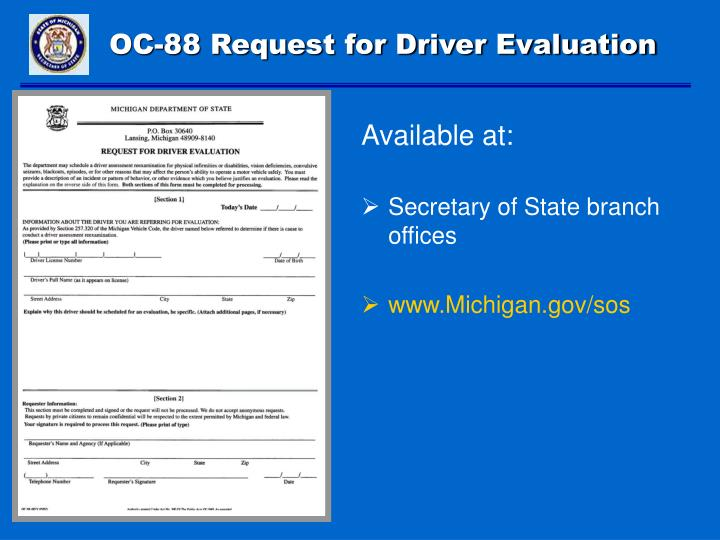 OC-88 Request for Driver Evaluation