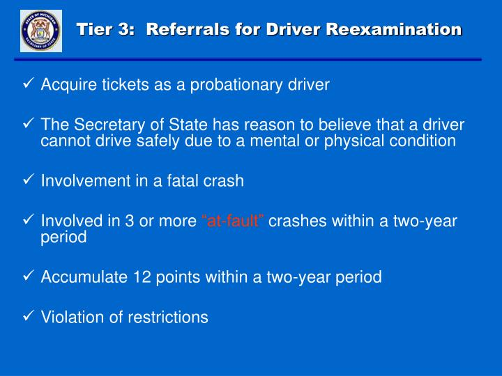 Tier 3:  Referrals for Driver Reexamination