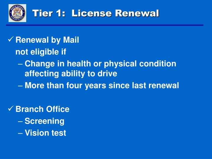 Tier 1:  License Renewal