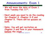 announcements exam 1