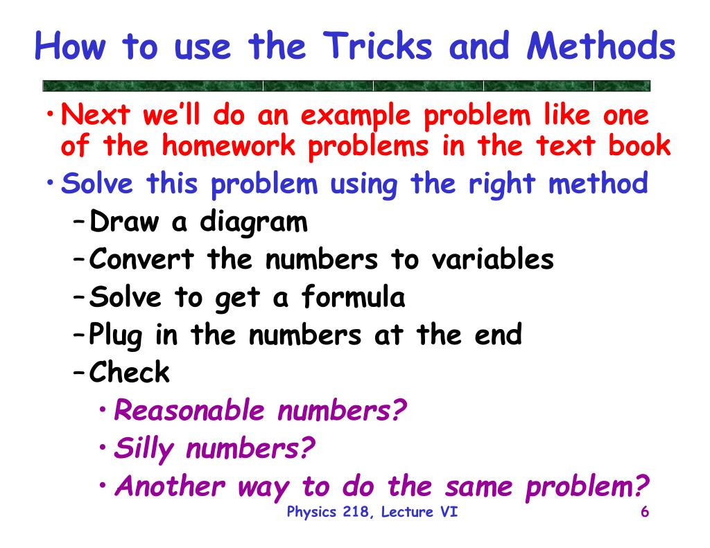 How to use the Tricks and Methods