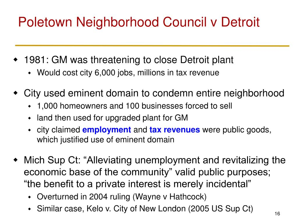 Poletown Neighborhood Council v Detroit