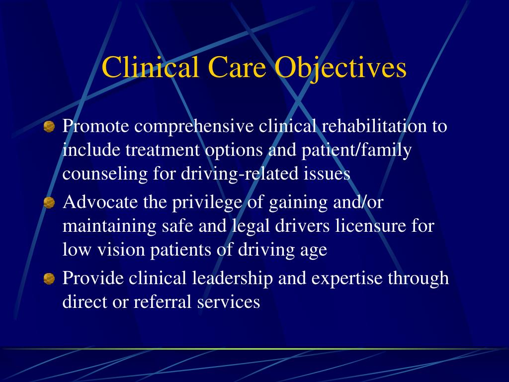 Clinical Care Objectives