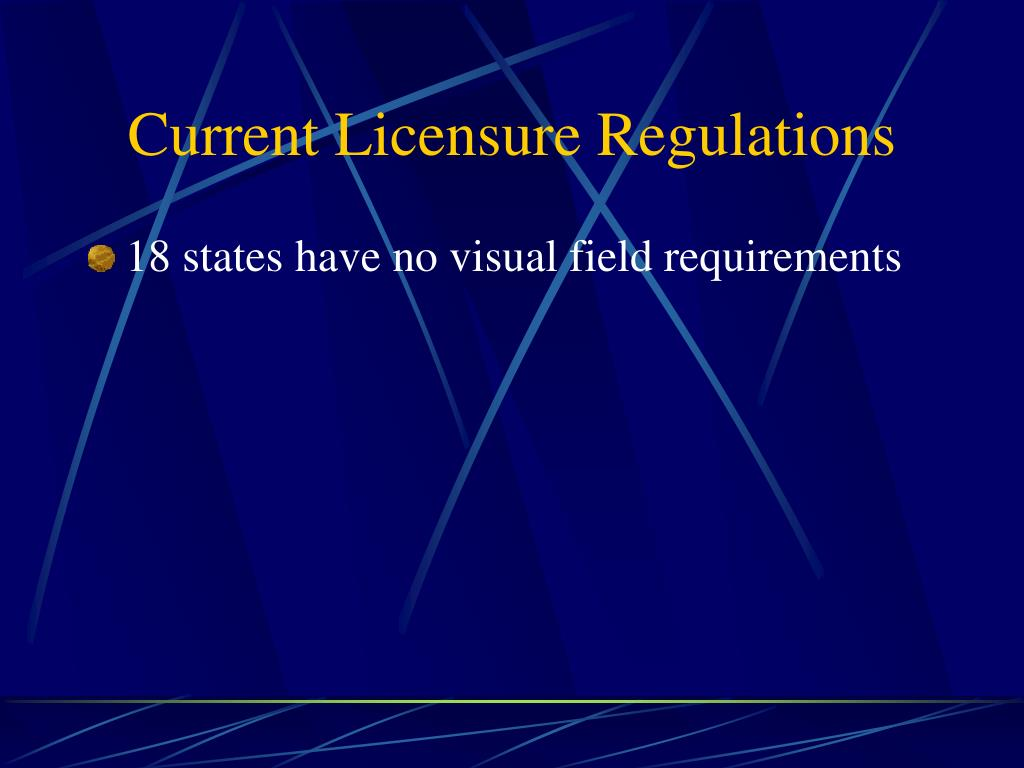 Current Licensure Regulations