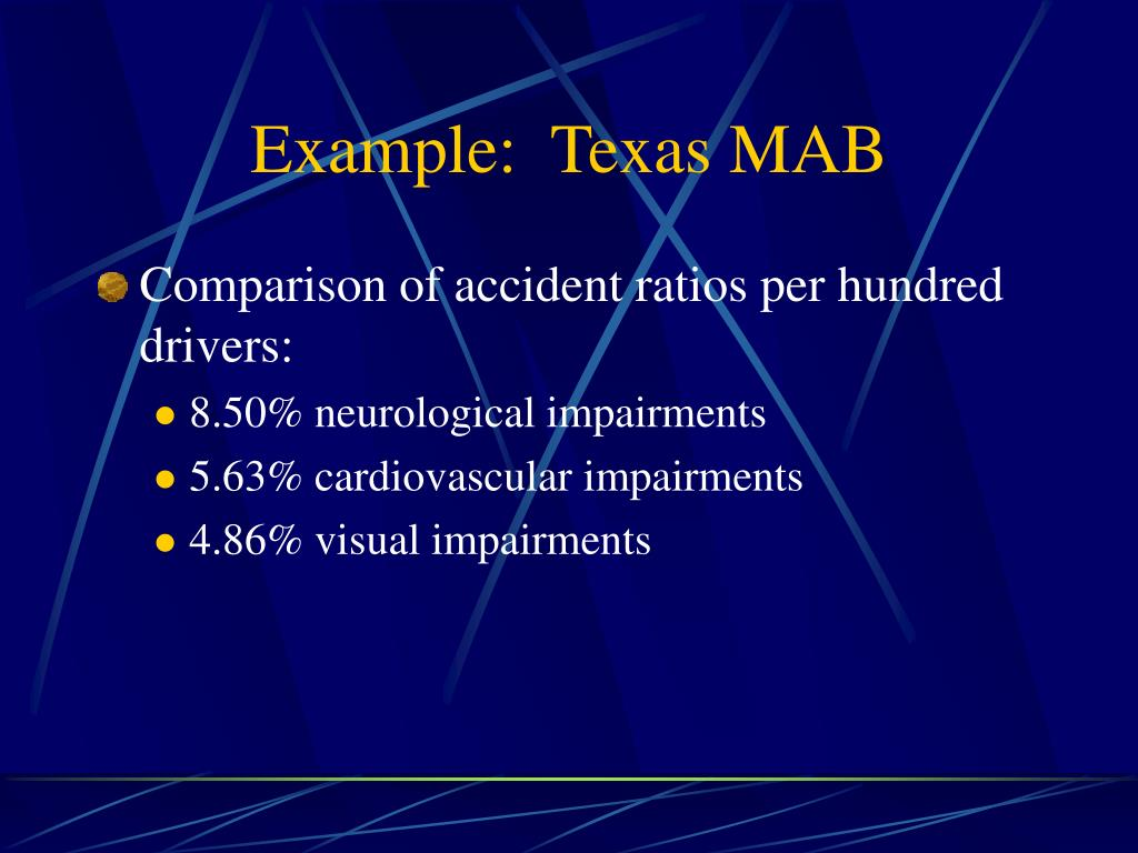 Example:  Texas MAB